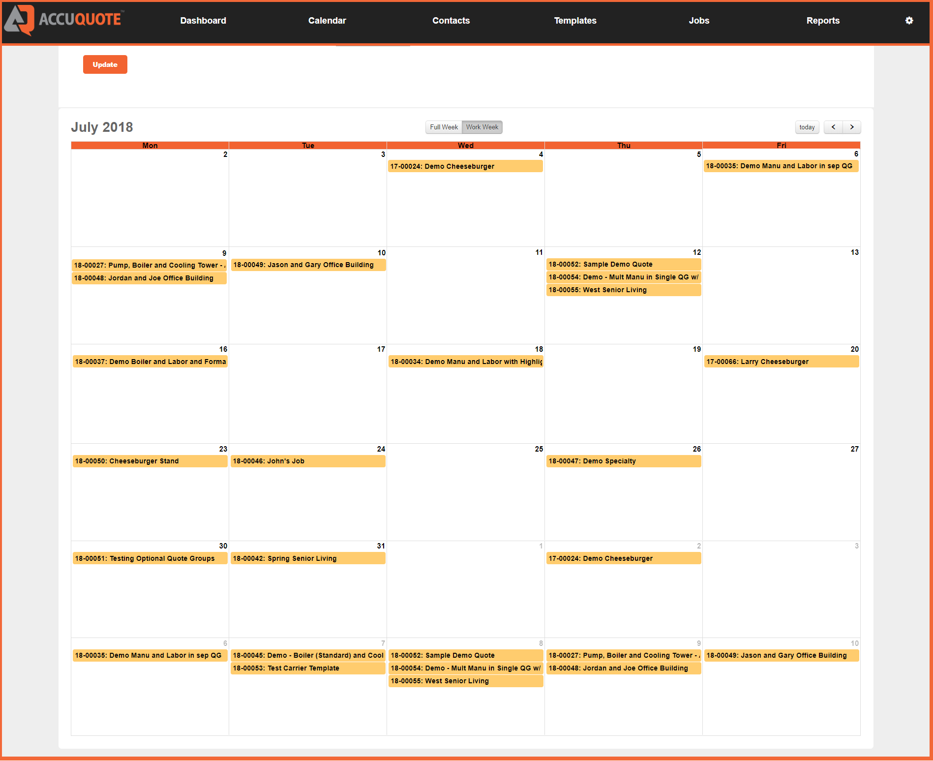job calendar - AccuQuote Direct